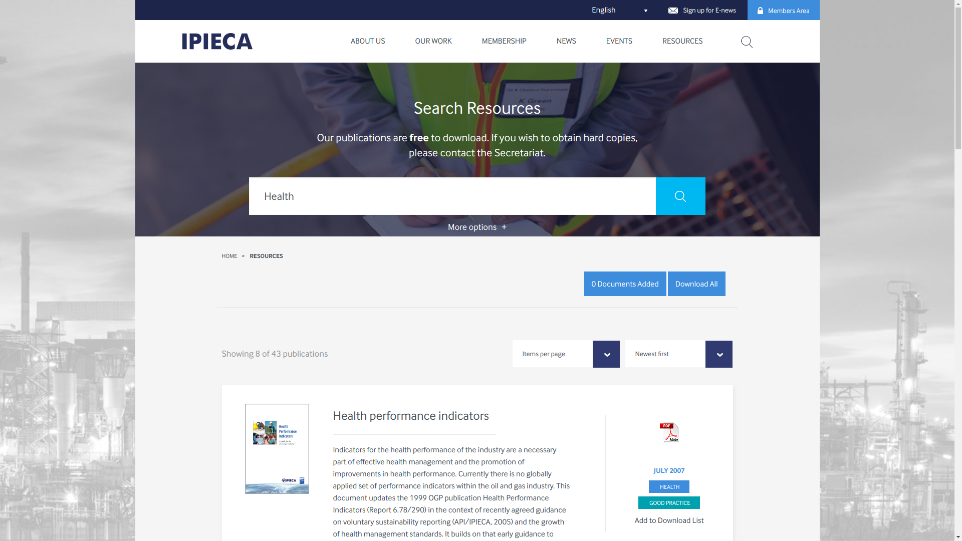 IPIECA (Global Oil & Gas Industry) Health Committee